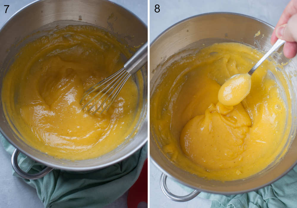 Passion fruit curd is being whisked in a bowl. Passion fruit curd in a metal bowl.