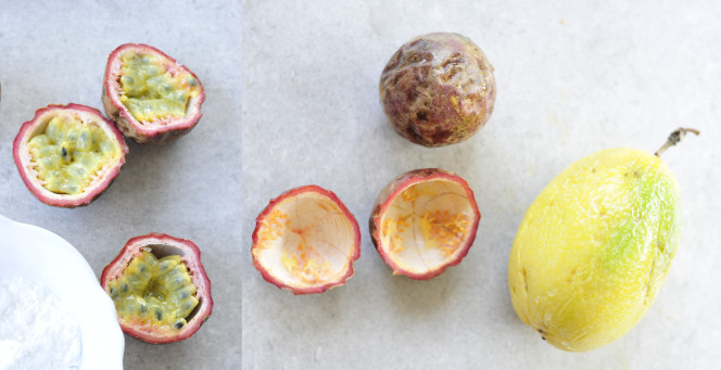 Different kinds of passion fruits.