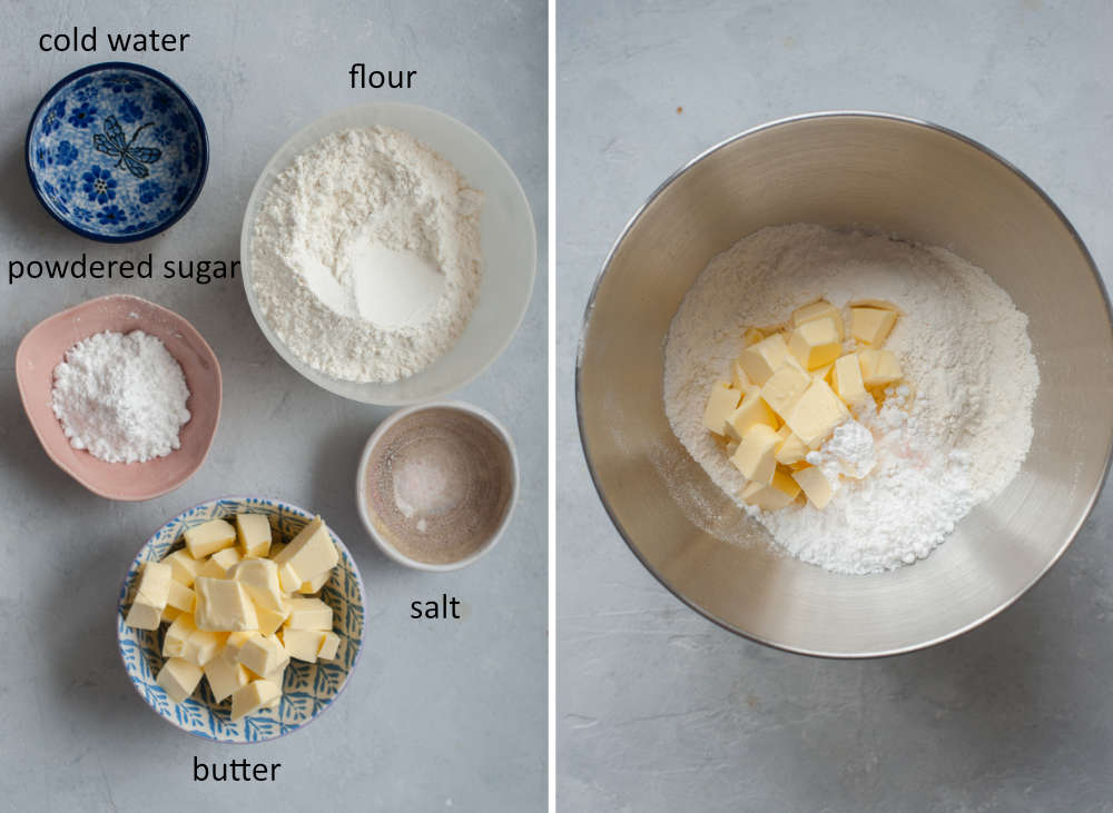 Ingredients for a shortcrust pastry on a table and in a bowl.