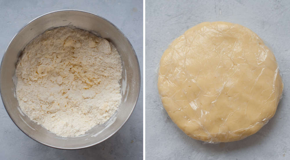 Crumble in a bowl. Pastry dough wrapped in plastic foil.
