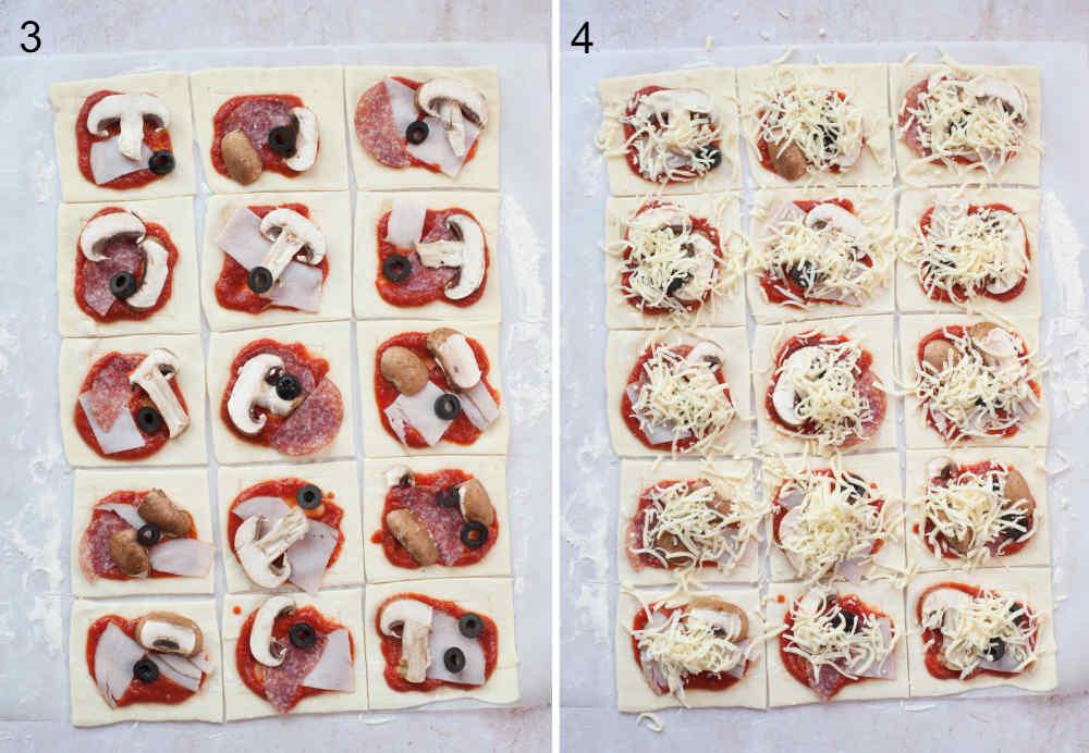 Arkusz ciasta francuskiego podzielony na kwadraty, z sosem do pizzy i dodatkami.