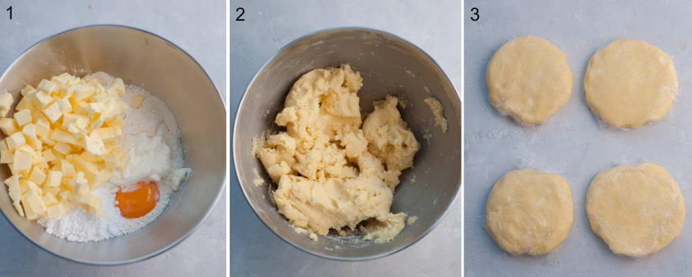 Kolaż 3 zdjęć pokazujący etapy przygotowania ciasta kruchego.