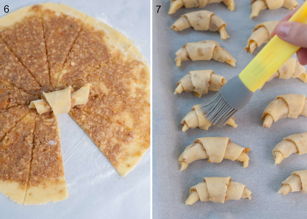 Shaping of crescent cookies. Rugelach cookies are being brushed with egg white.