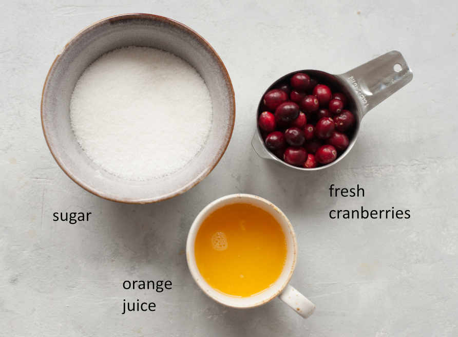 Labeled ingredients needed to prepare sugared cranberries.