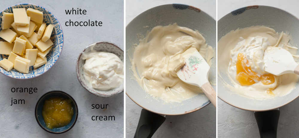 Ingredients for white chocolate glaze. Preparation steps of white chocolate orange glaze.