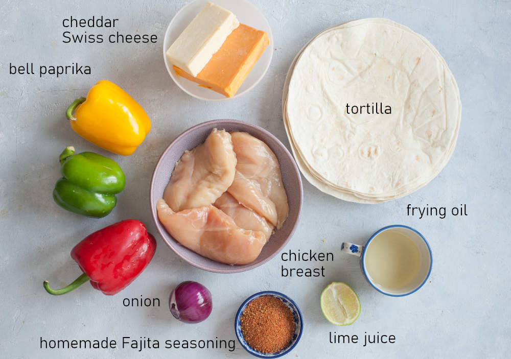 Labeled ingredients needed to make chicken fajita quesadillas.
