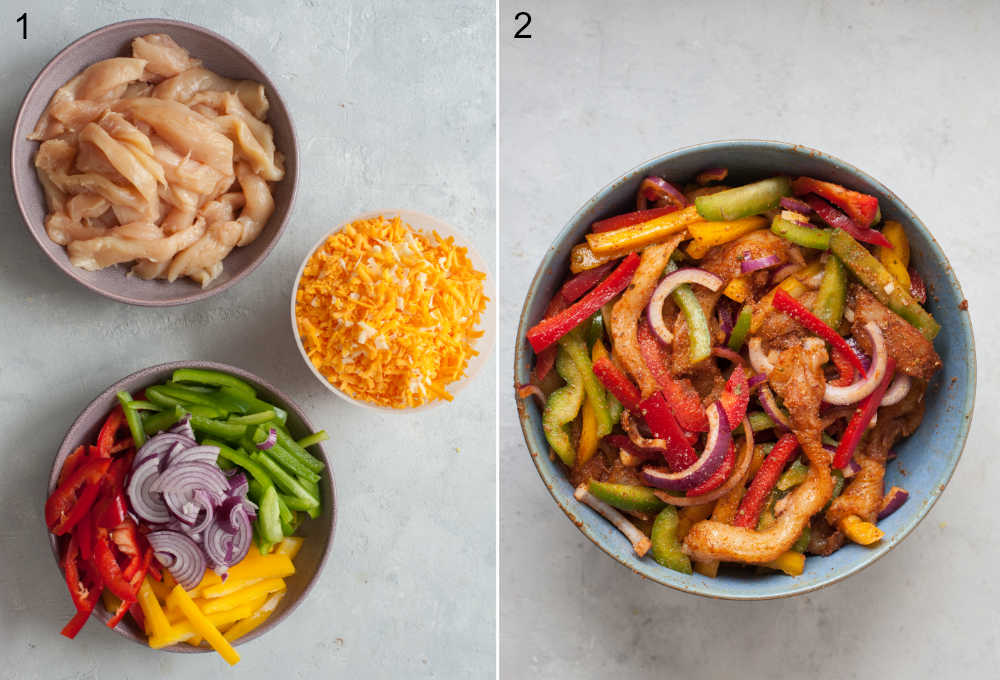 Chopped chicken breast and vegetables and shredded cheese in bowls. Chicken with veggies and spices in a blue bowl.