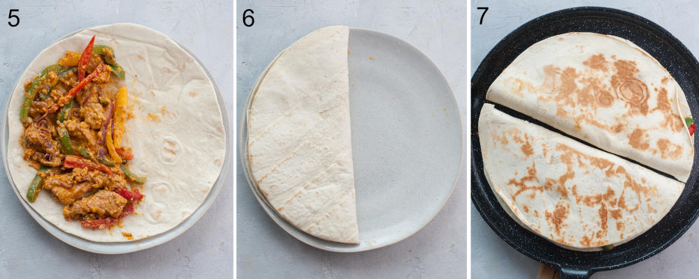 A collage of 3 photos showing assembling steps for quesadillas.