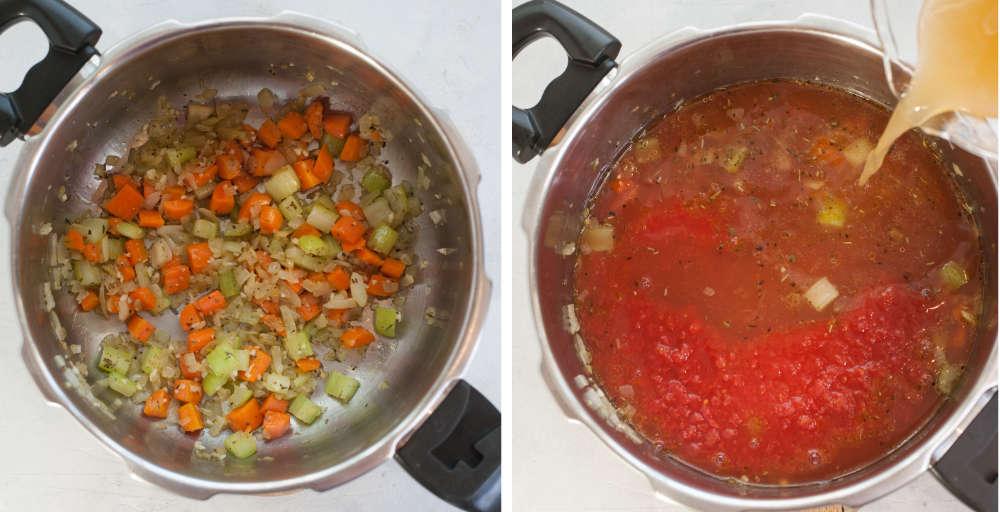 Podsmażona cebula z marchewką i selerem w garnku. Bulion dodawany z zupy z warzywami i pomidorami.