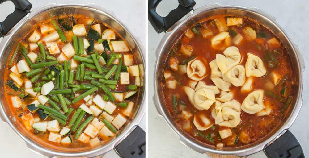 Fasolka szparagowa i cukinia dodane do zupy. Tortellni w garnku z zupą.