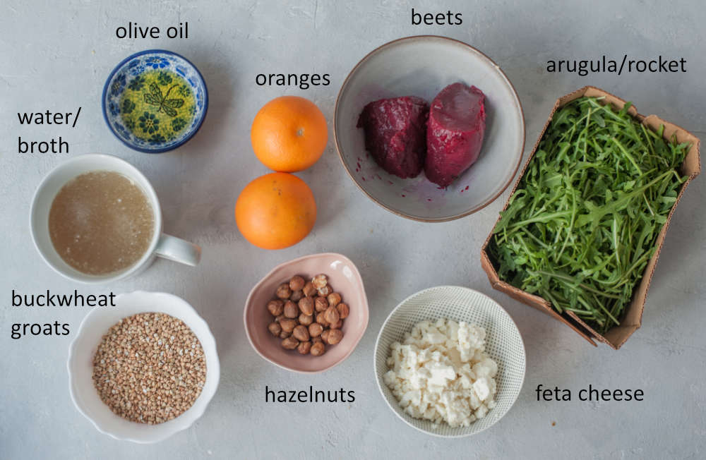 Labeled ingredients needed to prepare buckwheat salad with beets and oranges.
