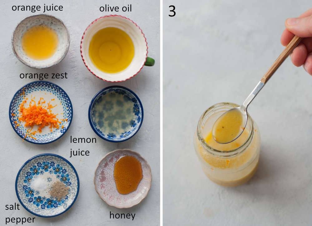 Labeled ingredients for lemon orange vinaigrette. Vinaigrette sauce in a jar.