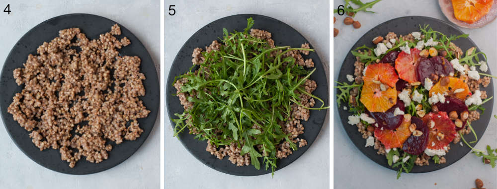 A collage of 3 photos showing assembling steps of buckwheat salad.