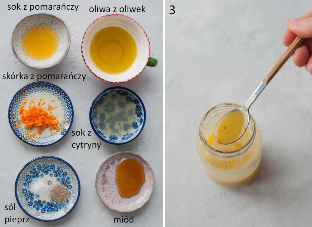 Składniki na sos do sałatki. Sos do sałatki w słoiku.