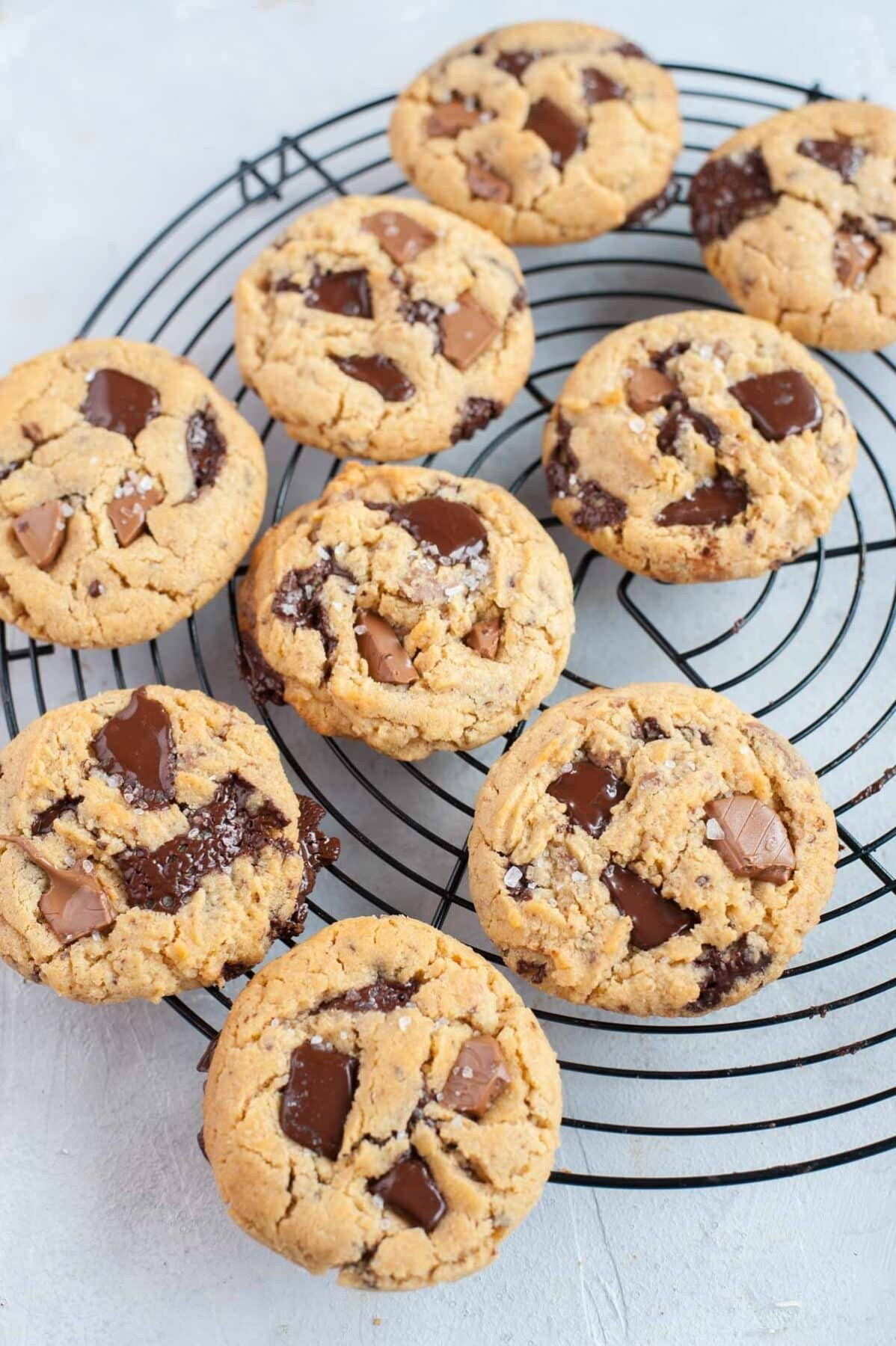 Chocolate chunk peanut butter cookies on a black wire rack.