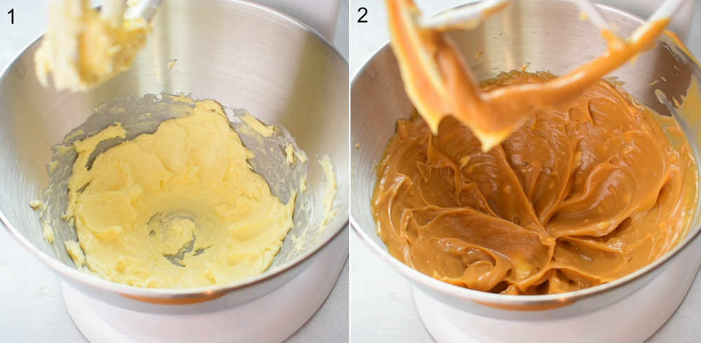 Left photo: butter in a bowl. Right photo: butter and peanut butter in a bowl.