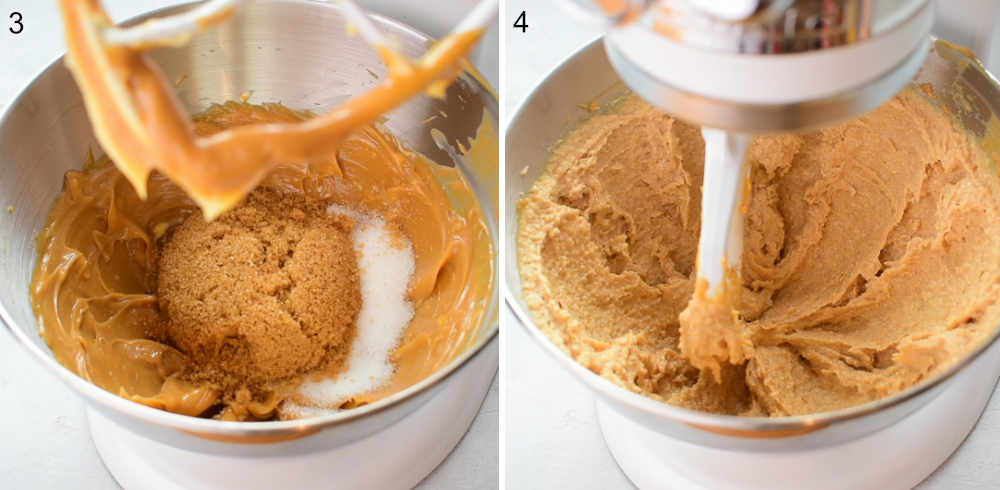 Sugar added to a bowl. Creamed sugar with butter and peanut butter.