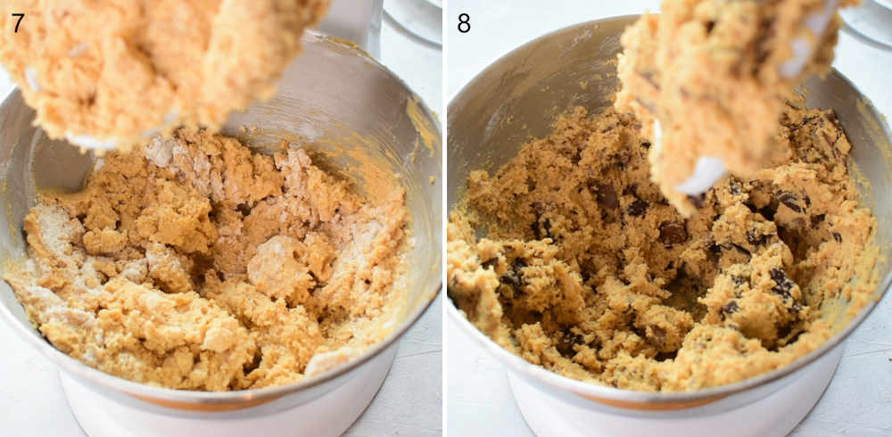 Flour is being added to the batter. Cookie batter with chocolate in a bowl.