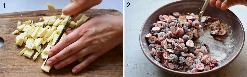 Chocolate is being chopped on a wooden board. Cranberries and being stirred with flour.