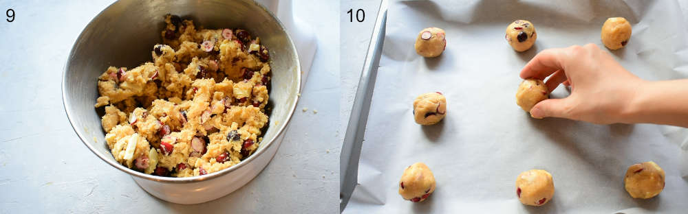 White chocolate cranberry cookie dough in a bowl. Unbaked cookies on a baking sheet.