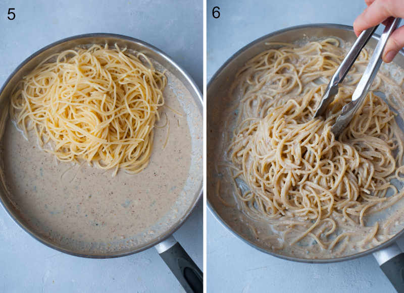 Spaghetti pasta is being tossed with gorgonzola sauce in a frying pan.