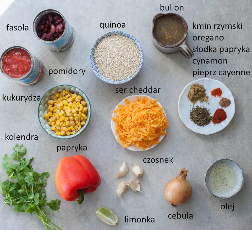 Składniki potrzebne do przygotowania quinoa po meksykańsku.