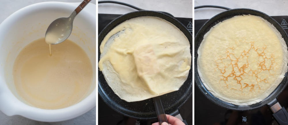 Kolaż 3 zdjęć pokazujący jak przygotować ciasto na naleśniki i jak smażyć naleśniki.