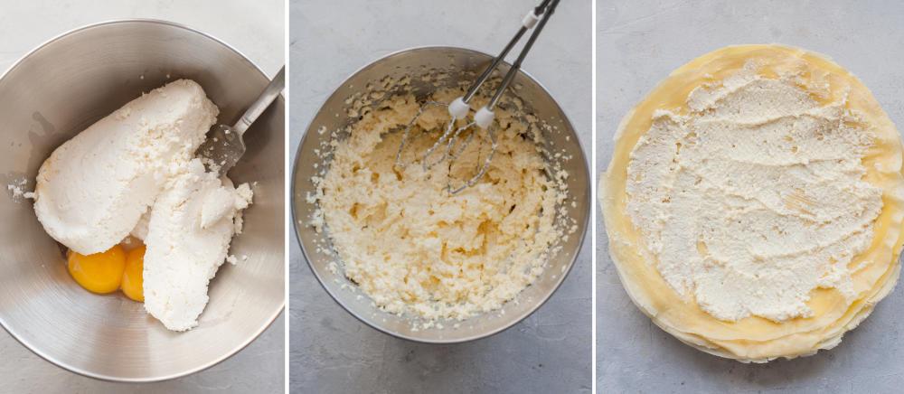 Kolaż 3 zdjęć pokazujący jak zrobić nadzienie serowe do naleśników.