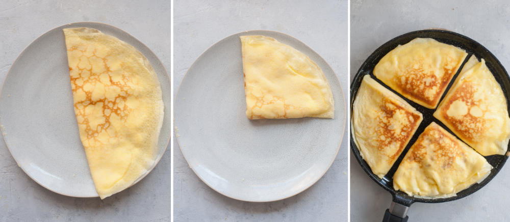 Kolaż 3 zdjęć pokazujący jak składać naleśniki i podsmażać je na patelni.