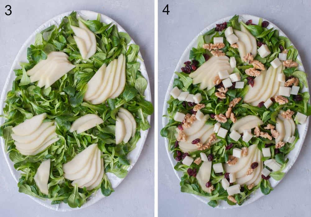 Roszponka i gruszka na białym talerzu. Sałatka z gruszką, żurawiną, orzechami włoskimi i kozim serem na białym talerzu.