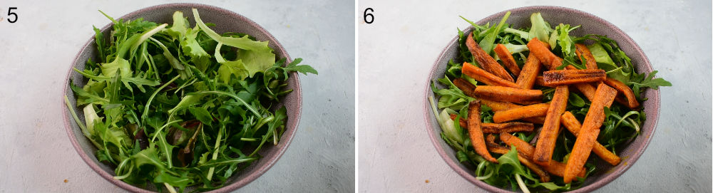 Left photo: arugula in a violet bowl. Right photo: arugula and roasted carrots in a bowl.