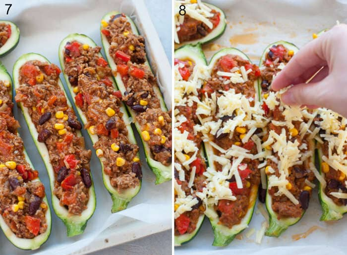Zucchini boats filled with meat filling. Cheese is being sprinkled over zucchini boats.