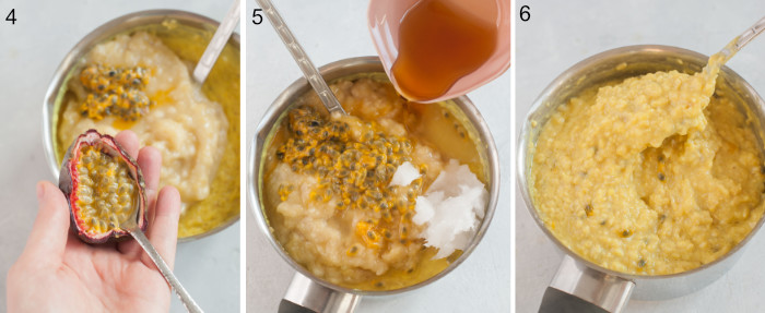 A collage of 3 photos showing banana oatmeal preparation steps.