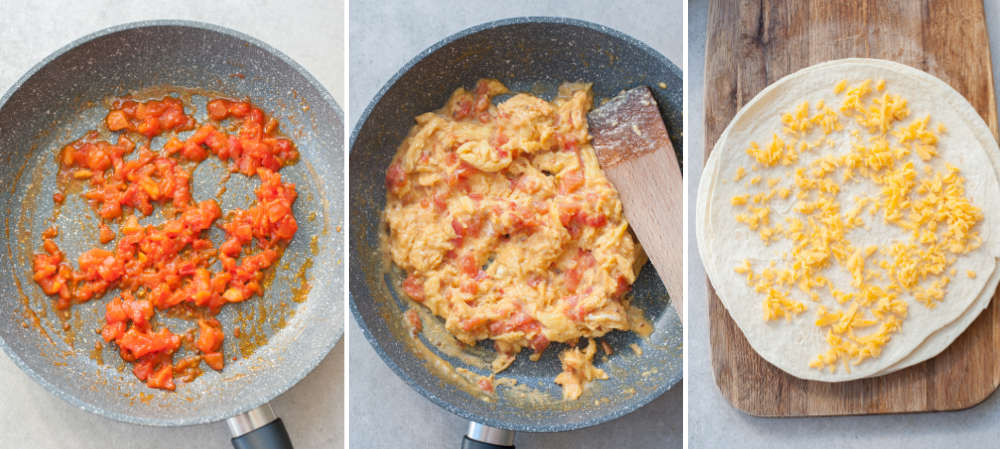 A collage of 3 photos showing cooking tomatoes, eggs and assembling quesadillas.