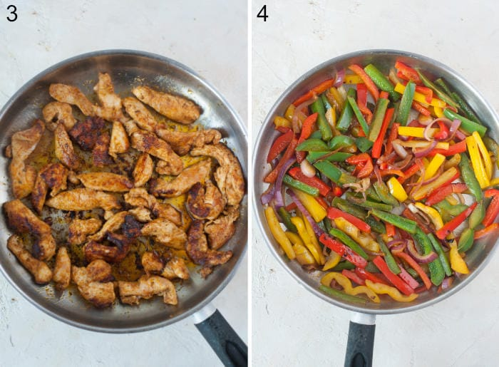 Pan-fried chicken strips in a pan. Bell peppers and onions in a pan.