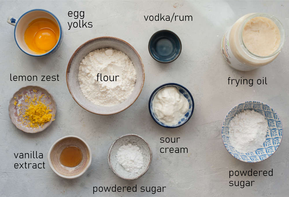 Labeled ingredients needed to prepare faworki.