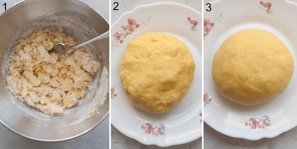 Kolaż z 3 zdjęć pokazujący jak zrobić ciasto na faworki.