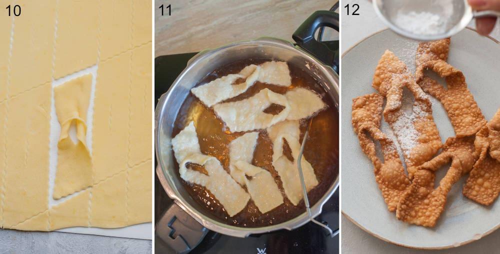 Kolaż z 3 zdjęć pokazujący smażenie faworków i posypywanie ich cukrem pudrem.