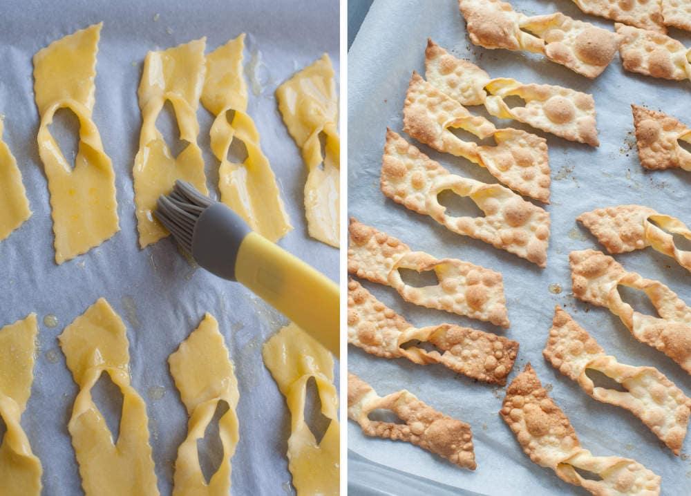 Ciasto na faworki smarowane roztopionym masłem. Upieczone faworki na blaszce do pieczenia.