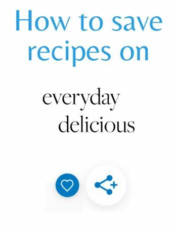 Image with a text saying how to save recipes.