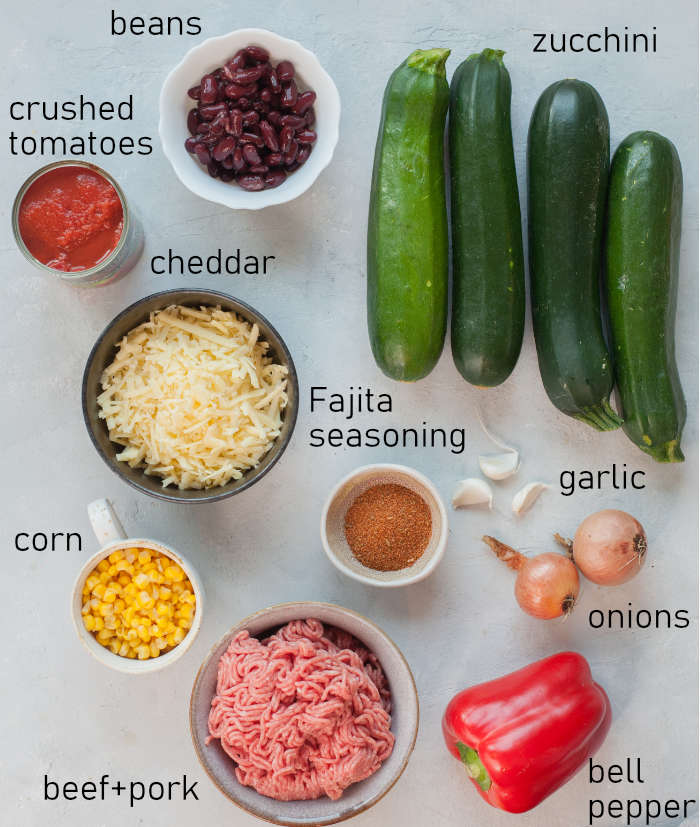 Labeled ingredients needed to prepare Mexican zucchini boats.