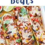 Mexican zucchini boats pinnable image.