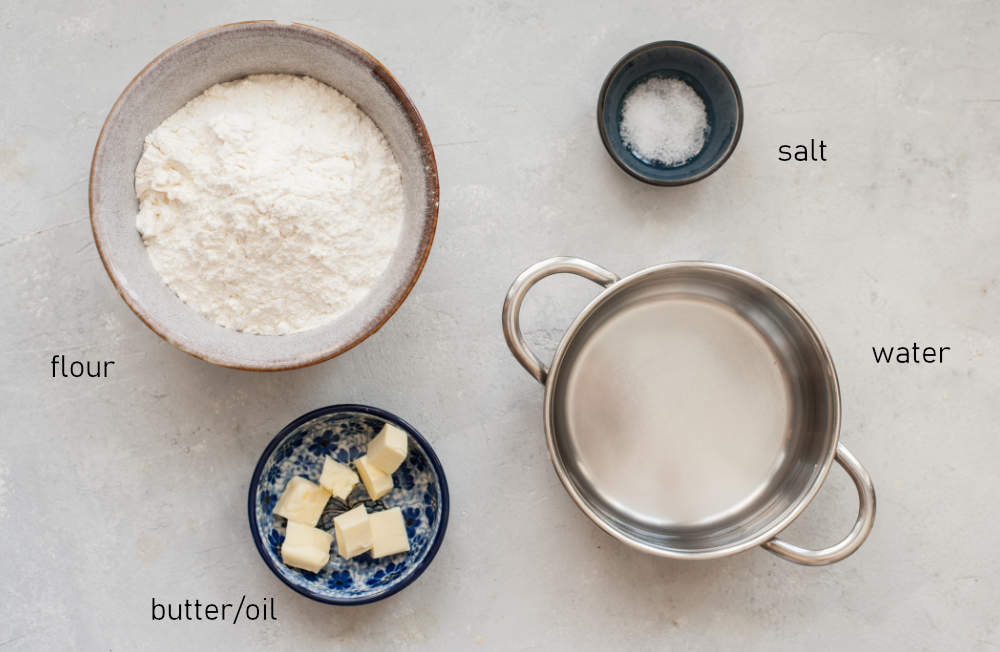 Labeled ingredients for pierogi dough.