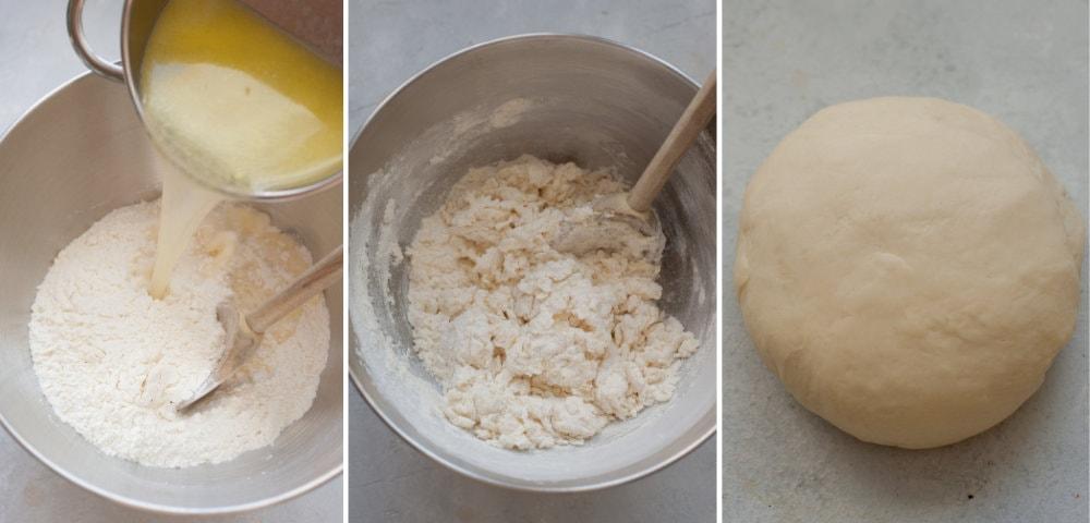 Kolaż 3 zdjęć przedstawiający proces przygotowania ciasta na pierogi.
