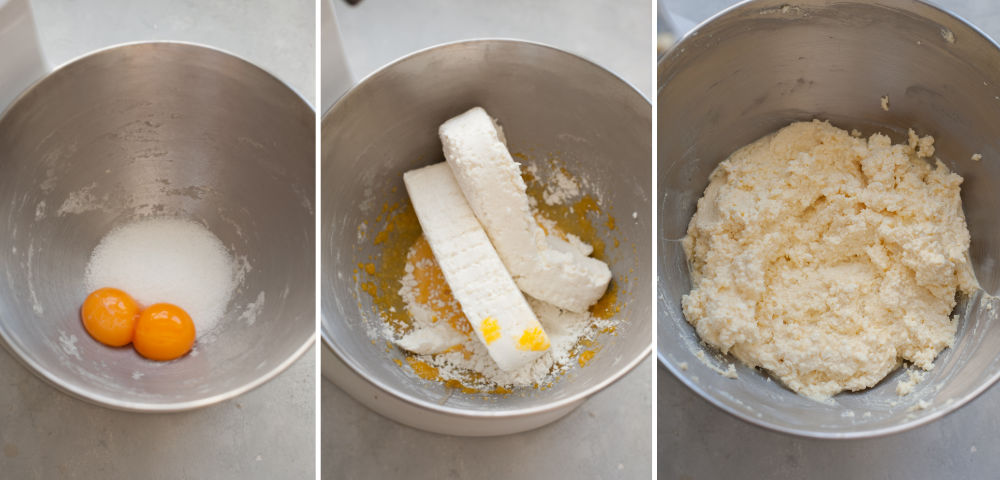 A collage of 3 photos showing preparation steps of sweet cheese filling for pierogi.