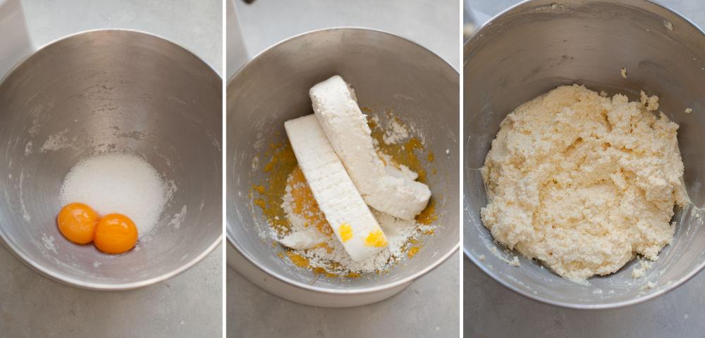Kolaż 3 zdjęć przedstawiający proces przygotowania nadzienia serowego do pierogów.
