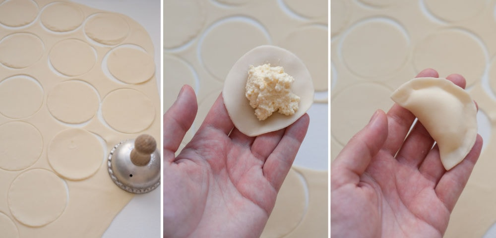 A collage of 3 photos showing shaping pierogi.