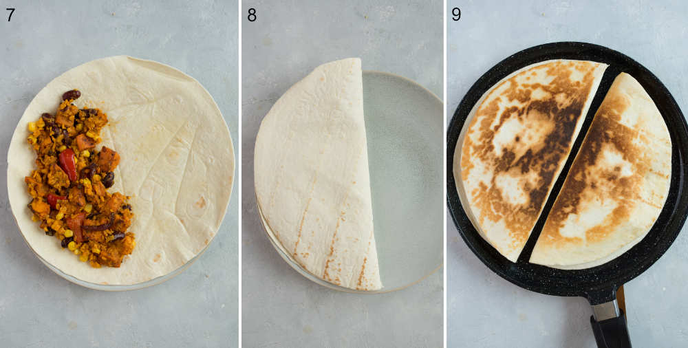 A collage of 3 photos showing how to assemble and fry quesadillas.