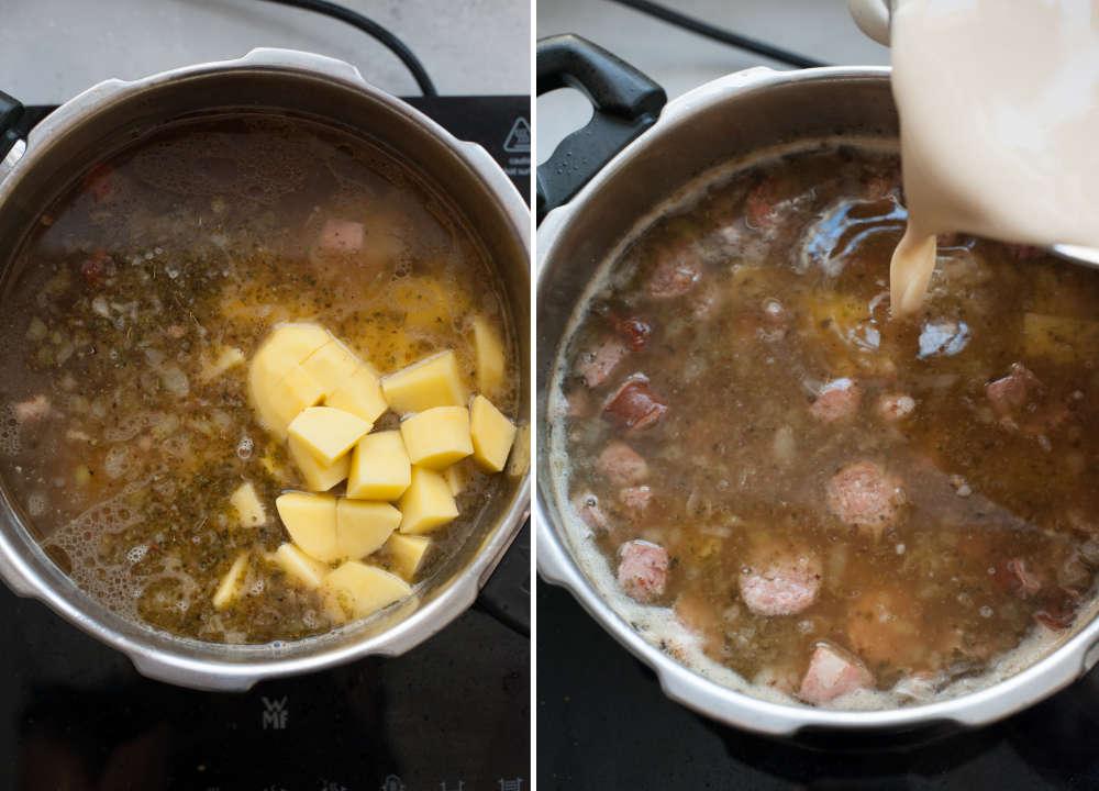 Ziemniaki dodane do garnka z zupą. Zakwas na żurek dodawany do zupy.