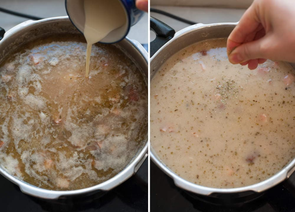 Śmietana jest dodawana do zupy. Majeranek jest dodawany do żurku.
